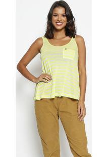 Blusa Listrada Com Bolsos- Verde Limão & Bege Claro-Thipton
