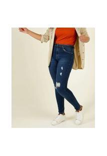 Calça Jeans Destroyed Skinny Feminina Cinto