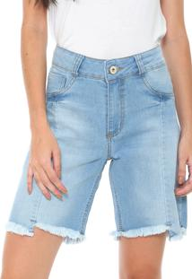 Bermuda Jeans Biotipo Reta Assimétrica Azul