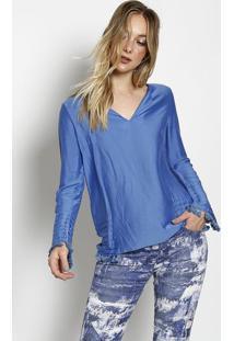 Blusa Com Seda & Recortes Sobrepostos- Azulbobstore