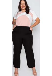 Calça Almaria Plus Size New Umbi Pantacourt Lisa P