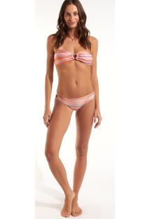 Calcinha Rosa Chá Mel Waves Beachwear Estampado Feminina (Estampa, Pp)