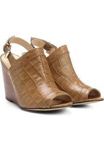 Sandália Anabela Couro Shoestock Abotinada Feminina - Feminino