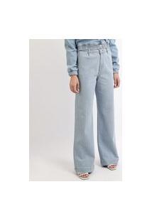 Calça Jeans Feminina Mindset Reta Wide Cintura Alta Azul Claro