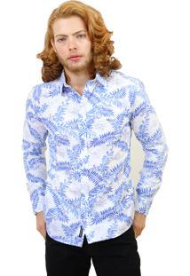 Camisa Slim Victor Deniro Palma Blu Branco/Azul
