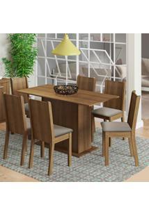 Conjunto De Mesa De Jantar Com 6 Cadeiras Celeny Linho Rustic E Pérola