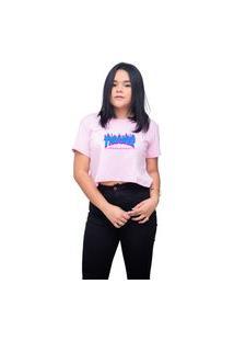 Camiseta Cropeed Feminino Skate Thrasher - Rosa