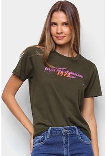 Camiseta Ellus 1972 Feminina - Feminino-Verde Militar
