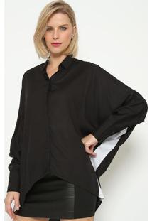 Camisa Ampla Com Recorte - Preta & Brancacalvin Klein