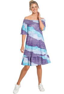 Vestido Ombro A Ombro Tie Dye Roxo/Azul