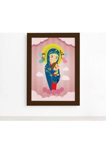 Quadro Nossa Senhora Virgem Maria Moldura Marrom 22X32Cm