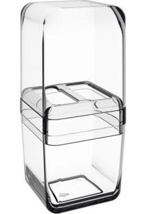 Porta Escova Com Tampa Cube- Incolor- 19X8,5X8,5Cm