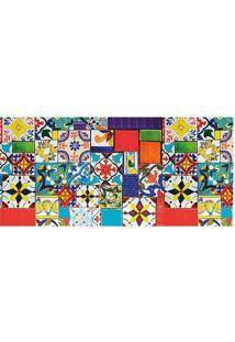 Tapete Transfer Azulejos- Azul & Vermelho- 90X40Cm
