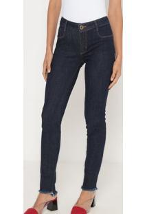Jeans Skinny Low Com Bolsos- Azul Escuro- Lança Perflança Perfume