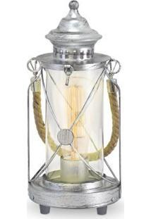 Abajur Aço Prata Envelhecida / Vidro Transparente 1 X 40W E27