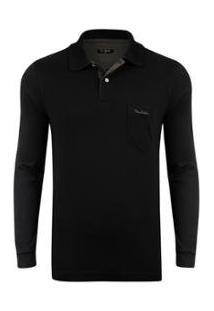 Camiseta Pierre Cardin Listradora Masculina - Masculino-Preto