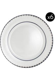 Jogo De Pratos De Jantar Em Porcelana Blue Silver- Off Wwolff