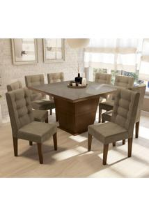 Conjunto De Mesa De Jantar Com 8 Cadeiras Strauss Iii Suede Bege E Off White