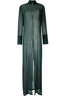 Adriana Degreas Vestido Longo Transparente - Verde