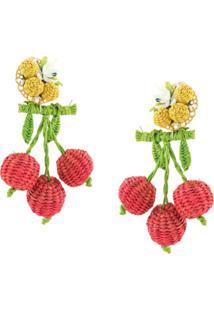 Mercedes Salazar Par De Brincos Cherries - Estampado