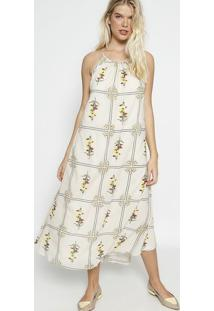 Vestido MãDi Floral Com Franzidos - Off White & Amareloosklen