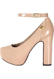 Scarpin Meia Pata Week Shoes Salto Grosso Tornozeleira Nude