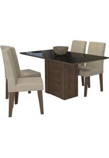 Sala De Jantar Rafaela 130 Cm Com 4 Cadeiras Marrocos/Preto Sued Bege