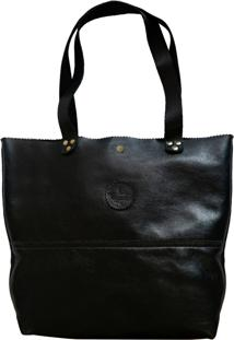 Bolsa Line Store Leather Shopping Bag Preta.