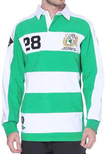 Blusa Kevingston Tuelef Polo Rugby Branco Verde De Algodao