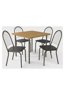 Conjunto Mesa Sena C/ 4 Cadeiras Noruega Bronze/Preto Kappesberg Crome
