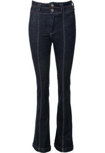 Calça Jeans Dudalina Flare Pespontos Azul
