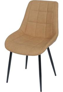 Cadeira Lounge Courino Caramelo Com Costura Quadriculada - 50020 - Sun House