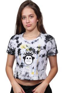Camiseta Cropped Kings Sneakers Tie Dye Never Mind Preto - G - Kanui