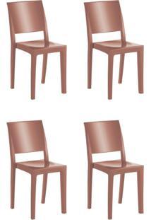 Conjunto 4 Cadeiras Em Polipropileno Hydra Plus Cristal Uz Kappesberg Terracota