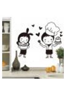 Adesivo De Parede Casal Chefe De Cozinha - Eg 98X127Cm