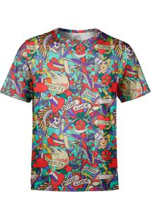 Camiseta Estampada Over Fame Tatuagens Clássicas Multicolorido