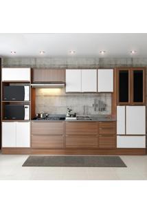 Cozinha Compacta Calábria 14 Portas 5 Gavetas Nogueira/Branco - Multimóveis