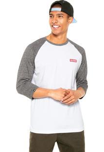 Camiseta Globe Gola Redonda Branca/Cinza