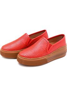 Slip On Flatform Perfuros Touro Boots Feminino Vermelho - Kanui