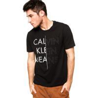 5fbc32d1c Camiseta Manga Curta Calvin Klein Jeans Letras Preta