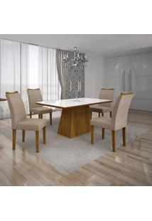 Conjunto Sala De Jantar Mesa Tampo Mdf/Vidro Branco E 4 Cadeiras Pampulha Leifer Canela/Linho Bege