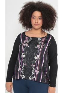 Blusa Floral Com Recortes- Preta & Roxa- Malweemalwee