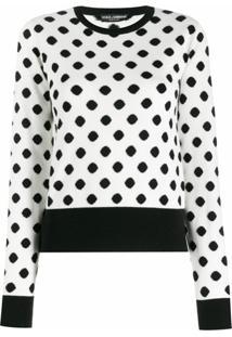 Dolce & Gabbana Suéter De Cashmere Com Poás - Branco