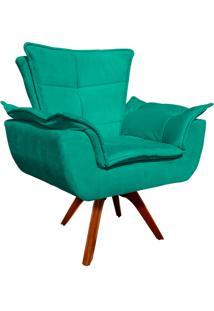 Poltrona Decorativa Giratória Gran Opala Base Madeira Suede Verde Tiffany - D'Rossi