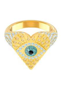 Anel Lucky Goddess Banho À Ouro- Dourado & Azul Claro