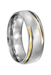Aliança De Aço C/ Filete De Ouro -12 - Unissex-Prata