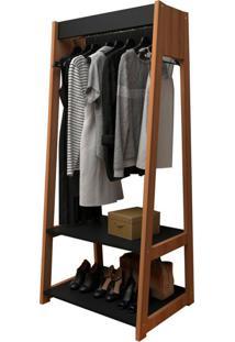 Guarda-Roupa Closet Modulado Urban Preto E Castanho