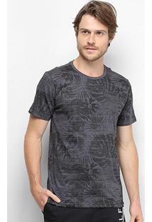 Camiseta All Free Folhagens Estonada Masculina - Masculino-Cinza