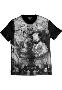 3718e769f5ae1 ... Camiseta Di Nuevo Caveira Com Flor E Relógio Retrô Swag Preta