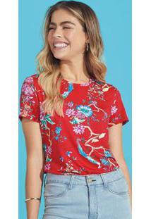 Blusa Vermelha Ampla Floral